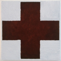 iron-cross (earth pigments and linseed oil and gesso on canvas; 30x30cm) 2009