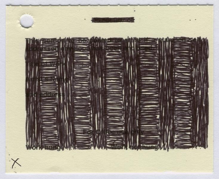 docket 5 (biro on card; 9x7cm) 2009