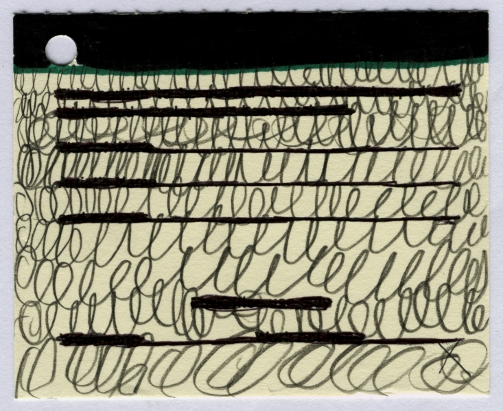 docket 6 (pen and pencil on card; 9x7cm) 2009