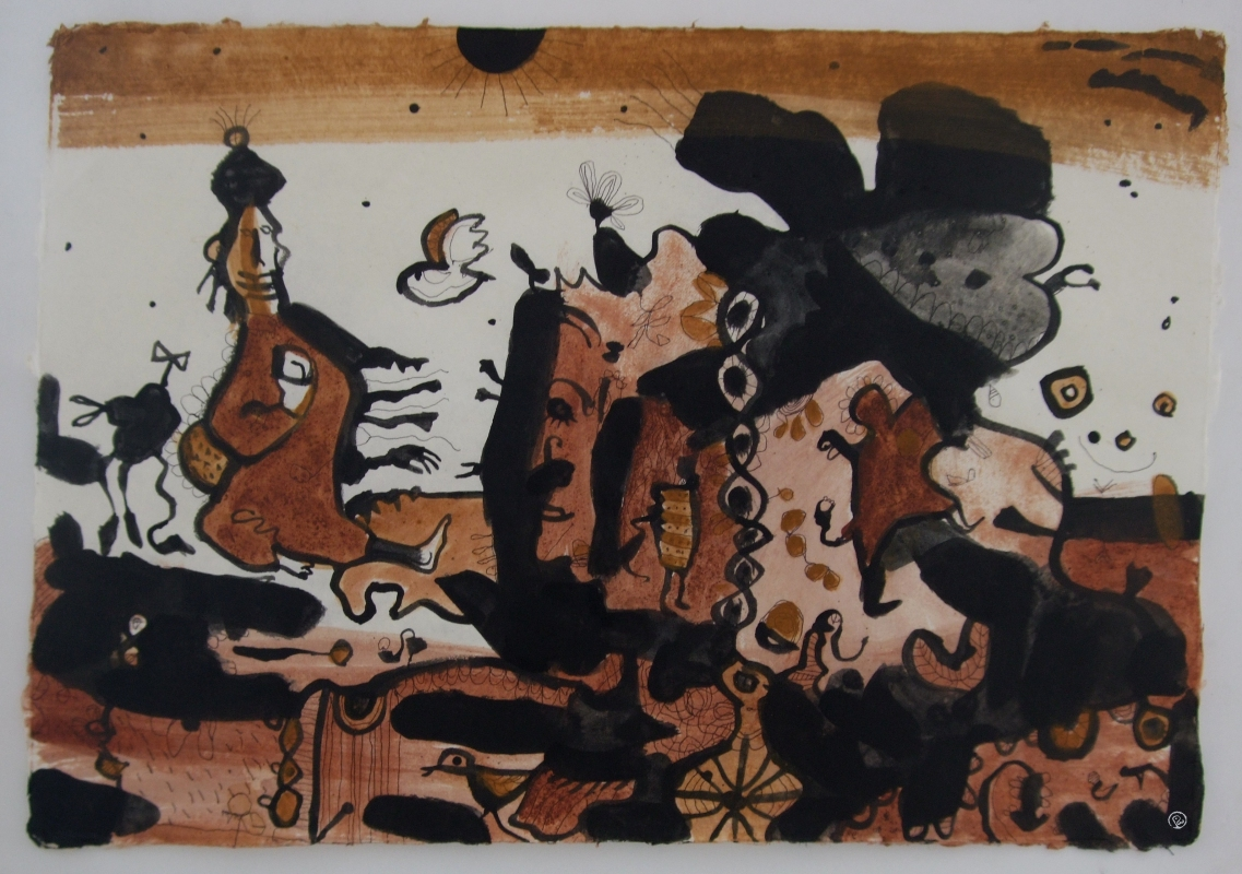 lively landscape (earth pigments on laos handmade paper; 80x60cm) 2009