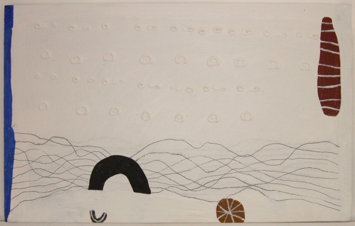 waterfront (gesso, pencil, earth-pigments and acrylic on board; 50x30cm) 2009