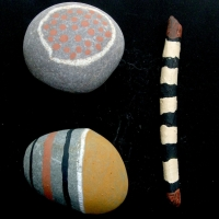sticks and stones ii (sticks, stones and earth pigments) © p ward 2010