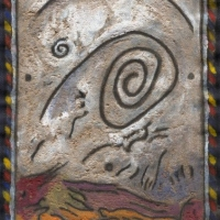 spirit (acrylic and mud on linen; 10x15cm) 1993 nfs