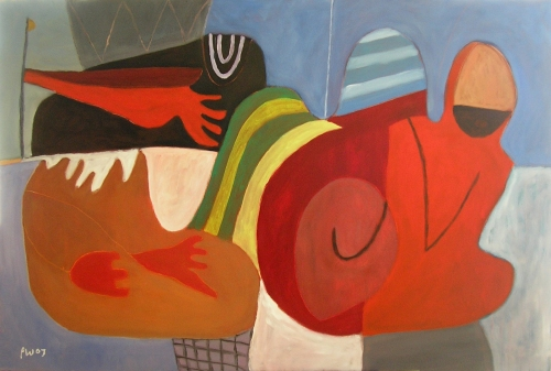walking with an angel (oil on canvas; 110x78cm) 2007