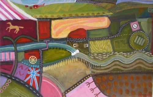 yeo weir (acrylic on card; 37x59cm; 2006)