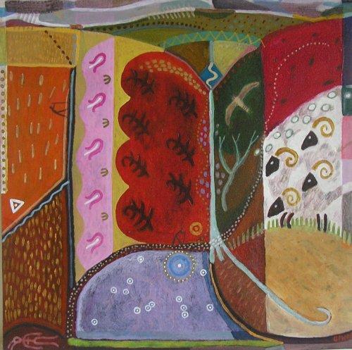 pinkery pond (acrylic on card 42x42cm) 2006