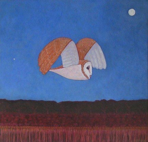 barn owl (acrylic on card; 43x44cm; 2006) sold