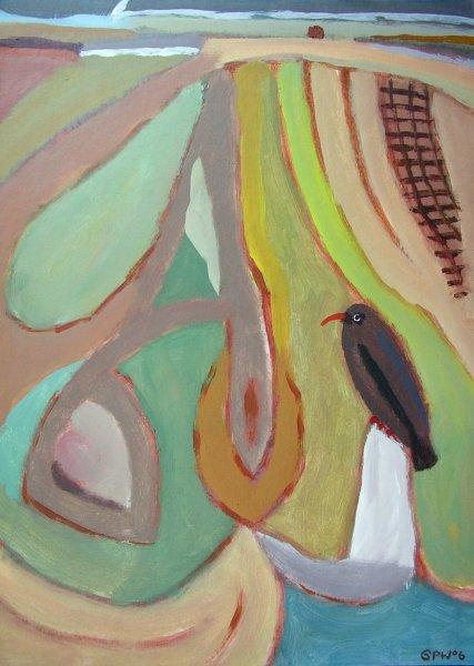 the crow of kernow (acrylic on card;56x40.5cm; 2006)