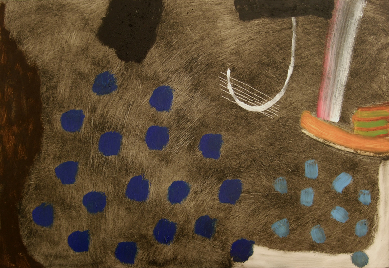 rain (oils and earth pigments on board; 53x36cm) 2008