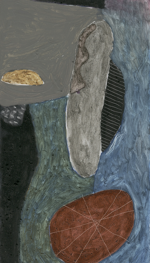 sausage in st ives (oil and earth pigments on board; 17x30cm) 2008