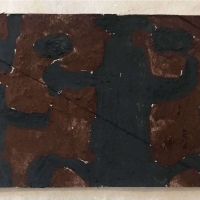 15 love and work I (Bideford Black and Cornish earth pigments on salvaged card; 16x11cm)