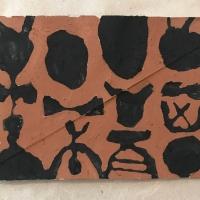 17 love and work III (Bideford Black and Cornish earth pigments on salvaged card; 16x11cm)