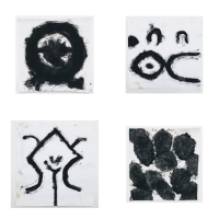 14 gestures with a handful of soil 5-8 (Botallack black on paper; 4 14x14cm)