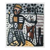 001 Saint Piran 1 (Cornish earth pigments on salvaged card; 24x30cm)