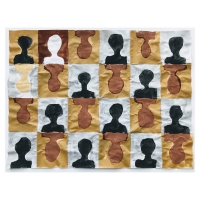 008 bust pattern/herd immunity 5 (Cornish earth pigments on salvaged paper; 40x28cm)