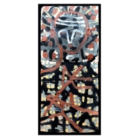 010-Saint-Piran-3-Cornish-earth-pigments-on-salvaged-card-29x63cm