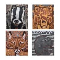 012 Saint Piran's disciples - badger, bear, fox, seal (Cornish earth pigments on salvaged card; 29x32cm each)