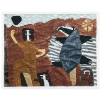 013 Saint Piran dancing with a badger (Cornish earth pigments on salvaged paper; 46x36cm)
