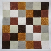 Cornish Quilt (Cornish earth pigments on paper; 30x30cm) © p ward 2018