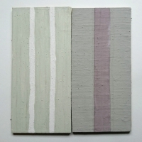 grey, green, white, mauve II - optical (Cornish earth pigments on wood; 25x25cm) © p ward 2018