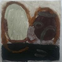 head 2 (Cornish earth pigment egg tempera on paper; 28x28cm) © p ward 2019