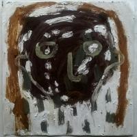 head 1 (Cornish earth pigment egg tempera on paper; 28x28cm) © p ward 2019