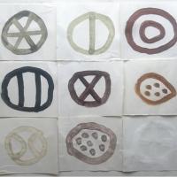 9 cornish earth forms (Cornish earth pigment egg tempera on paper; 48x42cm) © p ward 2019