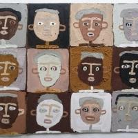 earth heads I (Cornish earth pigments on repurposed card; 37x28cm) © p ward 2019