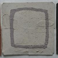 earth shield (Cornish earth pigments on repurposed card; 52x17cm) © p ward 2019