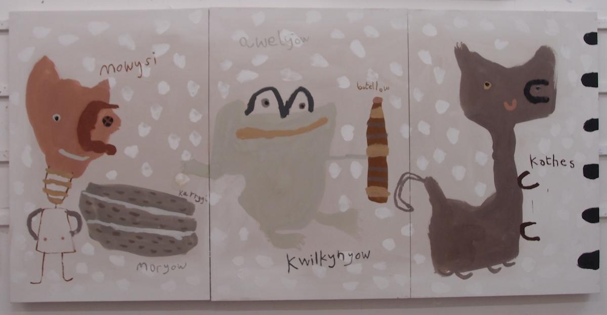 mowysi karrygi kwilkynyow (botellow) kathes / girls rocks frogs (bottles) cats (Cornish earth pigments on canvas; 300x147cm) © p ward 2019
