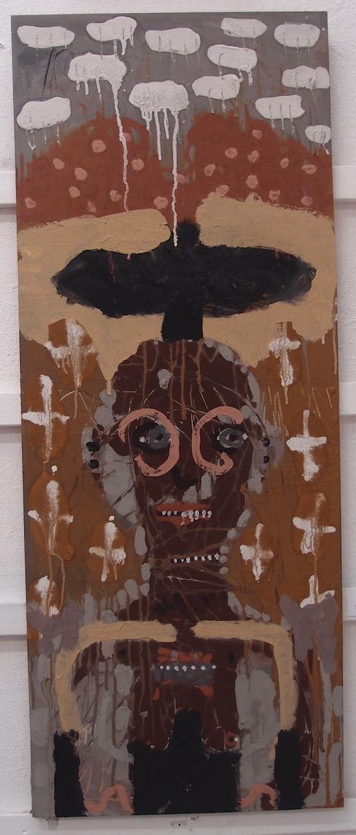 brini hag hen benyn / crow and crone (Cornish earth pigments on salvaged board; 58x122cm) © p ward 2019