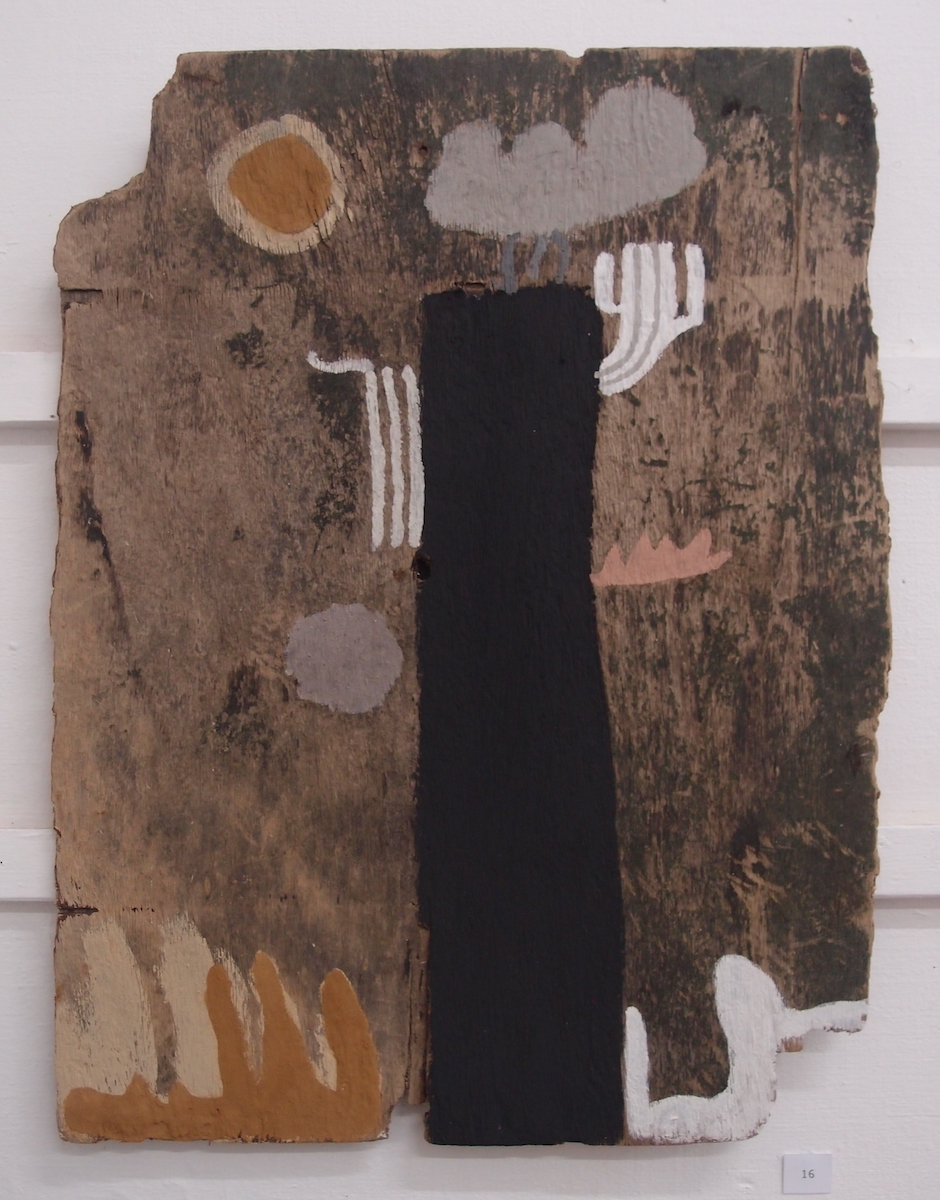 nei synsi an awel / we hold the weather (Cornish earth pigments on salvaged board; 58x76cm) © p ward 2019