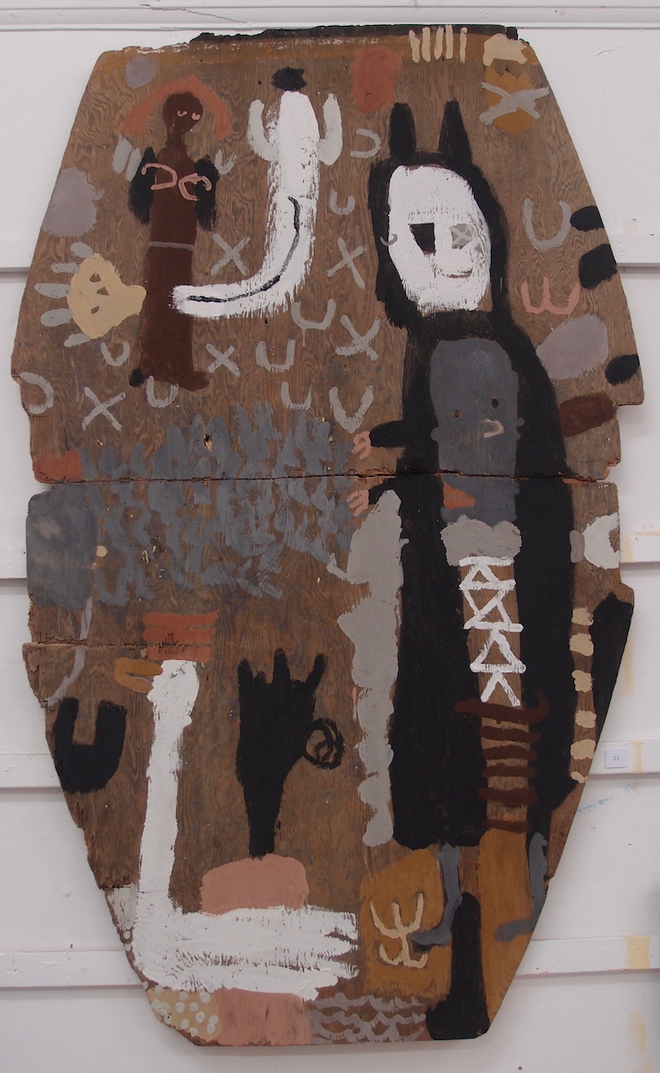 tewlel dowrow dhe a alargh / throw water at a swan (Cornish earth pigments on salvaged board; 103x164cm) © p ward 2019