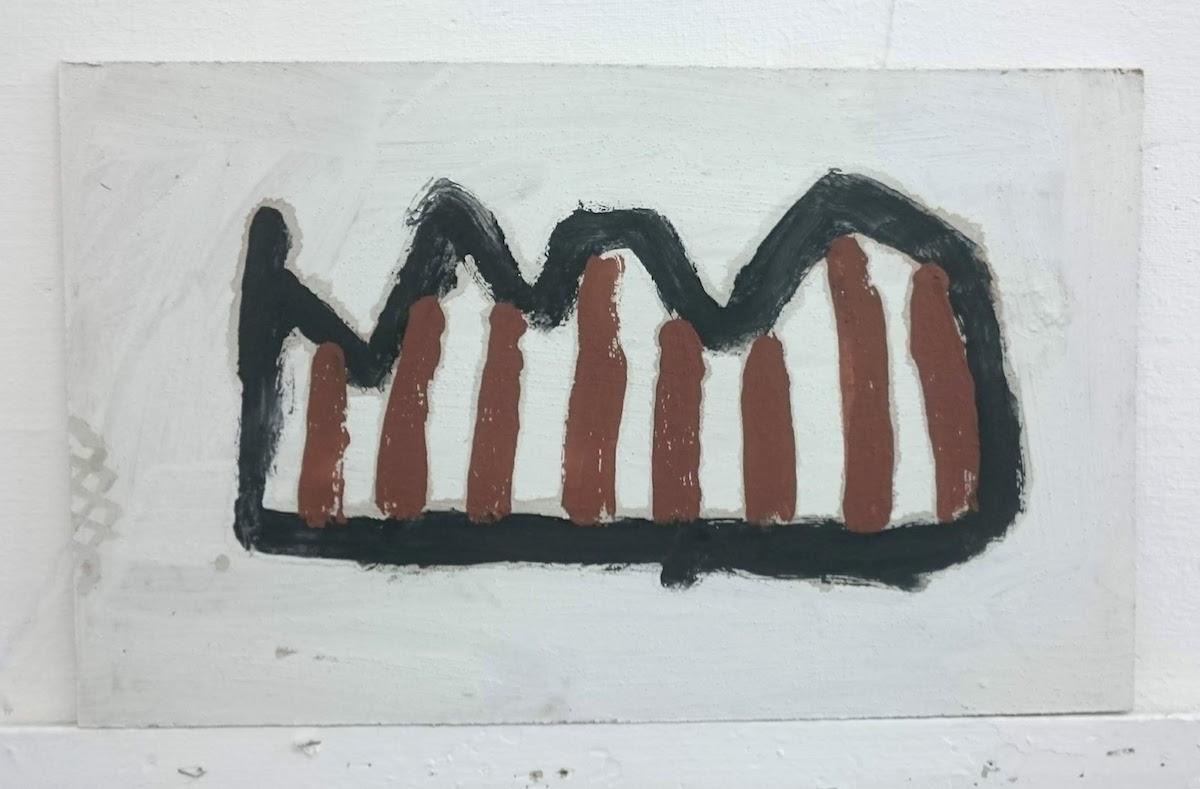 priweythva / clay-works (Cornish earth pigments on salvaged board; 54x33cm) © p ward 2019