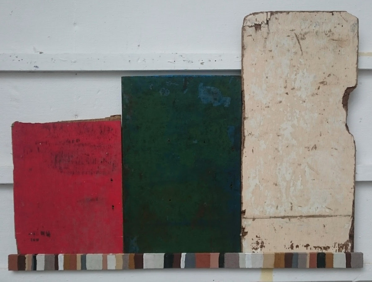a surheansow a prys / an insurance of time (Cornish earth pigments on salvaged board; 106x77cm) © p ward 2019