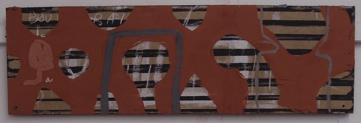 styrrya / move (Cornish earth pigments on salvaged board; 100x31cm) © p ward 2019