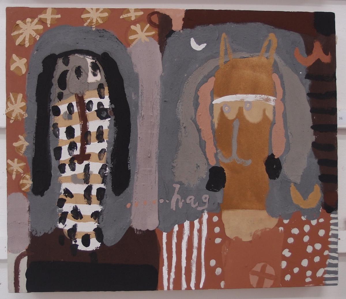 ki hag kathes hag ki / dog and cat and dog (Cornish earth pigments on canvas; 75x64cm) © p ward 2019