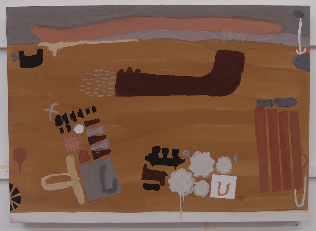 gwuthryl a fusen gans treth hag pri / make a rocket with sand and clay (Cornish earth pigments on canvas; 110x79cm) © p ward 2019