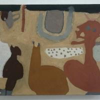 yn an derowyow… / in a beginning… (Cornish earth pigments on canvas; 54x42cm) © p ward 2019