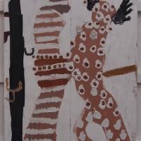 dewdhek nosow diwettha / twelve nights later (Cornish earth pigments on salvaged board; 61x92cm) © p ward 2019
