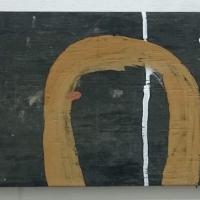 y'n gwav / in winter (Cornish earth pigments on salvaged board; 55x27cm) © p ward 2019