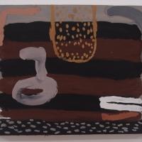 morladres gorhel / pirate ship (Cornish earth pigments on salvaged board; 78x62cm) © p ward 2019