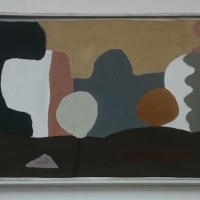 flogh yn a losanj gwerthji / kid in a sweet shop (Cornish earth pigments on canvas and salvaged wood; 78x53cm) © p ward 2019 sold
