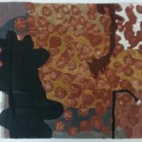bayow y'n an tewal / kisses in the dark, cornish earth pigments on repurposed cardboard, 56x43cm) © p ward 2019