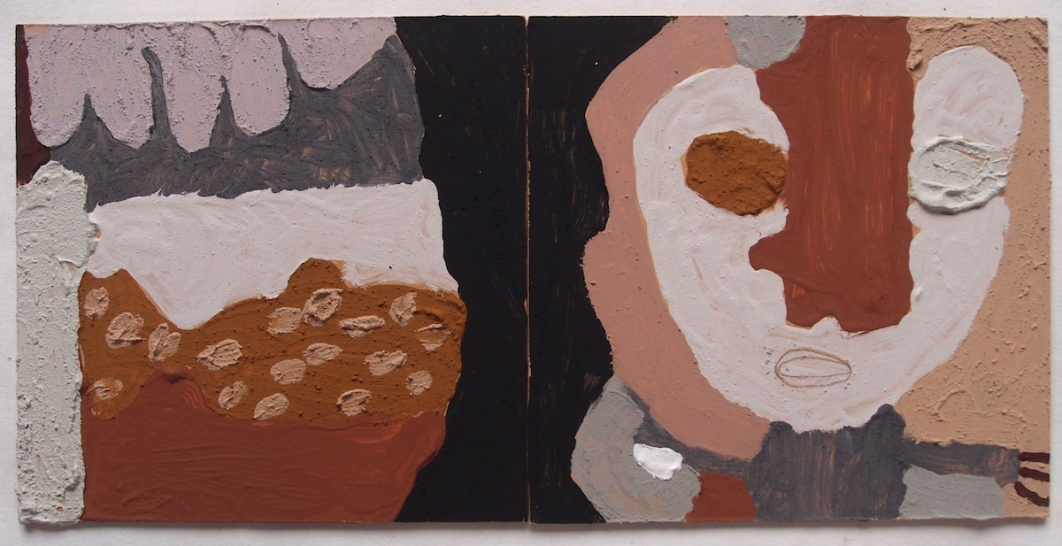 faces of stone - personal responses to a climate emergency I (Cornish earth pigments on salvaged board; 48x24cm) © p ward 2020
