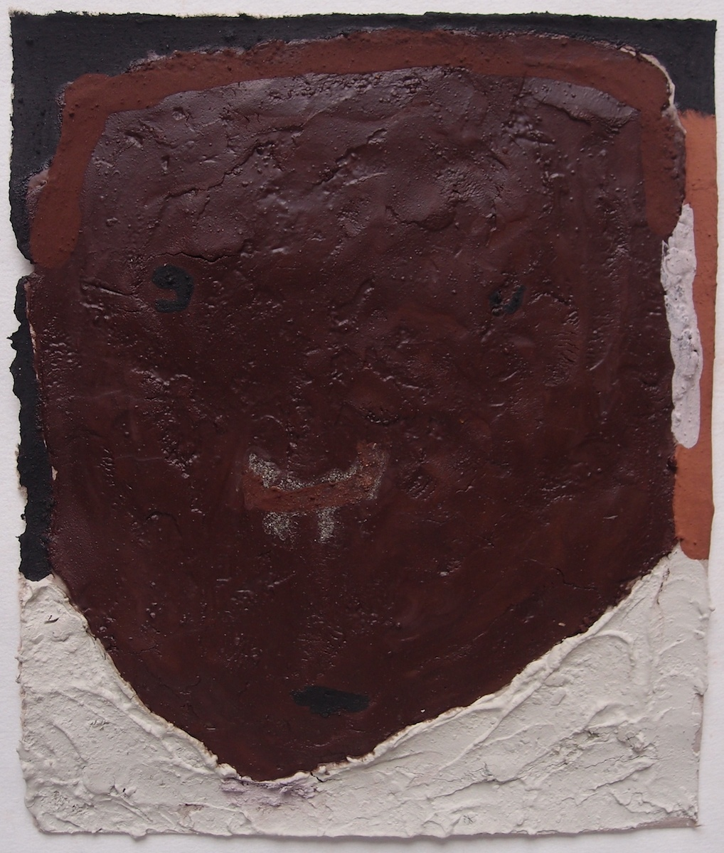 faces of stone - personal responses to a climate emergency IV (Cornish earth pigments on salvaged card; 20x24cm) © p ward 2020