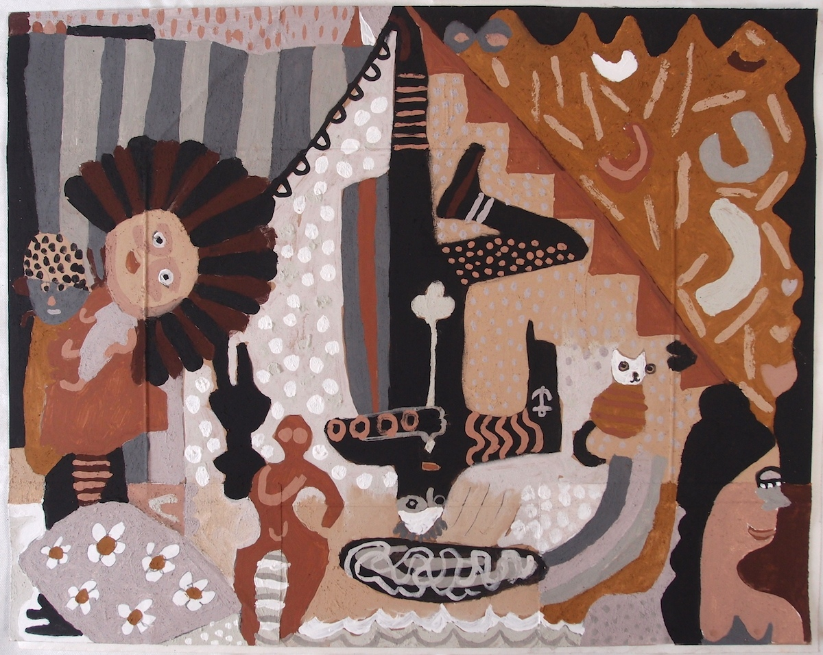 hwedhlow a-dhia ah kerwenek keow - an kregi den / tales from a cornish hedge - the hanged man (Cornish earth pigments on salvaged card; 71x55cm) © p ward 2020