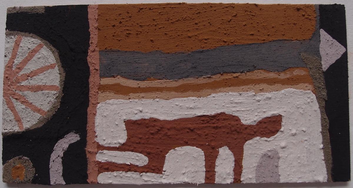 crawling through winter (Cornish earth pigments on board; 25x13cm) © p ward 2020