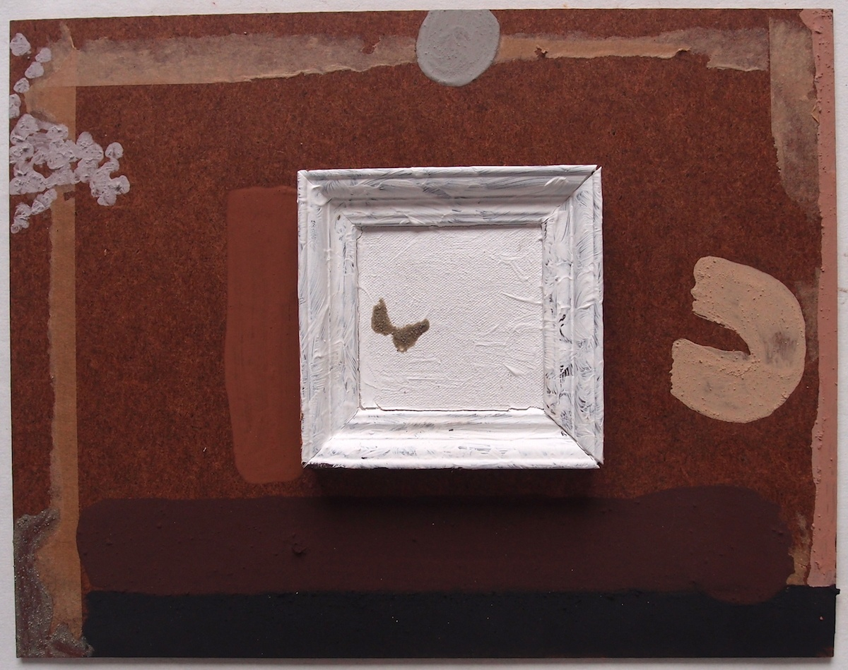 emptiness (Cornish earth pigments on salvaged board and frame; 36x28cm) © p ward 2020