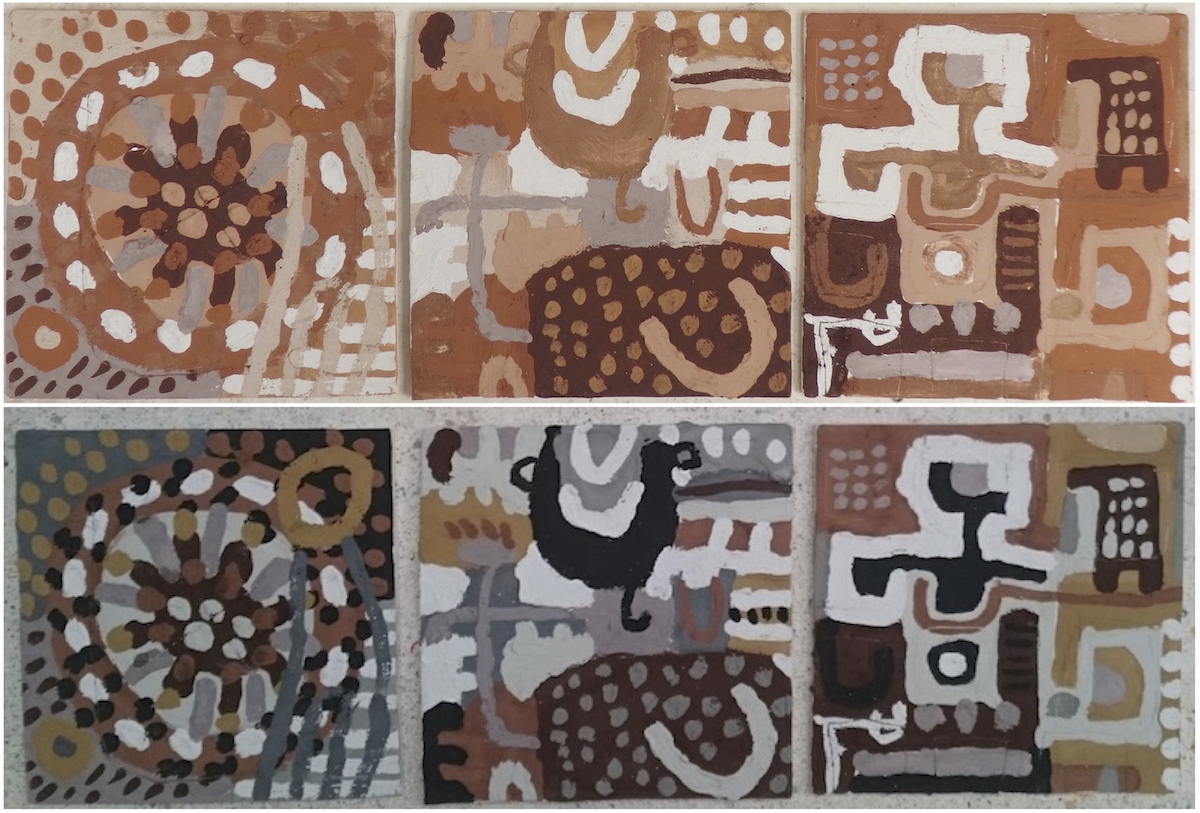 3 painted and bisk fired clay tiles at the Sandy Brown Museum, Appledore - before and after (Cornish earth pigments on clay tiles; 28x28cm each) © p ward 2020